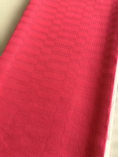 竺仙麻綿市松半巾帯-赤色 (NO.1911)