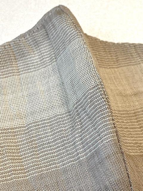 麻マスク薄茶ボーダーSサイズ(NO.8014)裏地は綿晒し