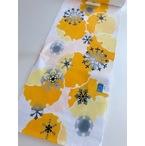 竺仙ゆかた、白地に雪輪、黄色とグレー(NO.1892)